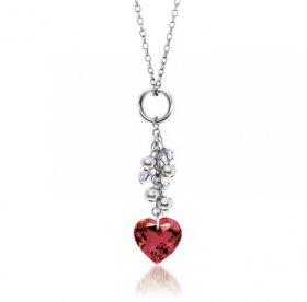 Кулон стальной с кристаллом Swarovski в форме сердца. INORI.